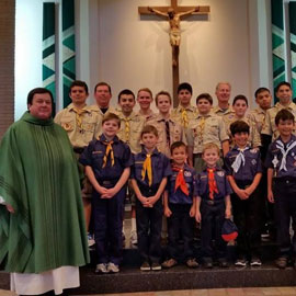 Father Michael Rocha with St Paschal Baylon Boy Scouts